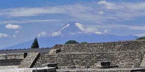 Cholula Ruins in Front of Volcano Popocatepetl